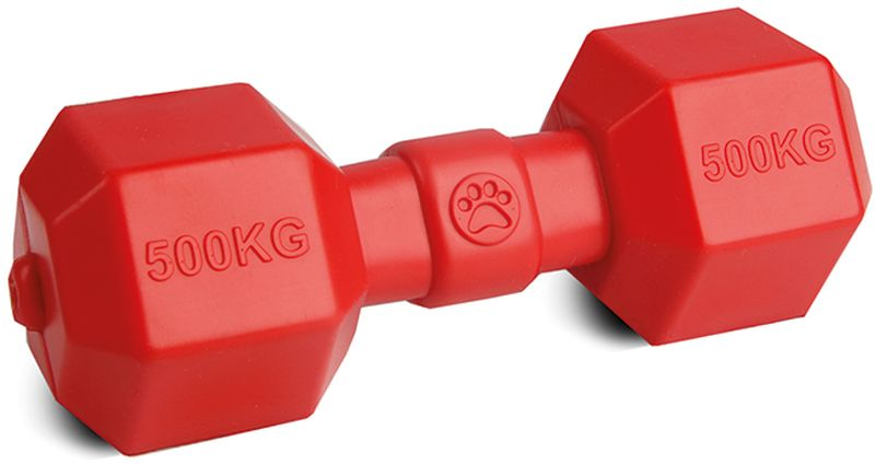 Игрушка для собак Грызлик Ам Гантелька. Аmfibios, цвет: красный, длина 19,5 см игрушка для собак грызлик ам бантик bottle sound цвет голубой длина 16 2 см