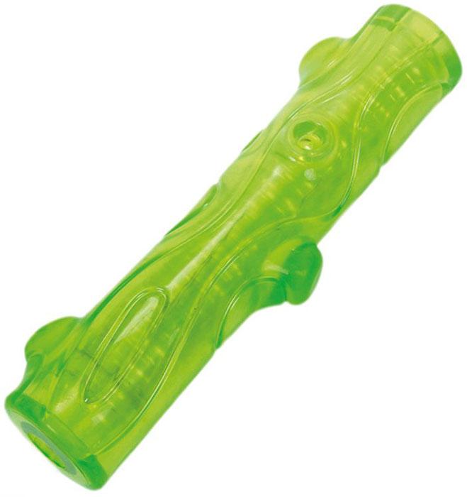 Игрушка для собак Грызлик Ам Палочка. Bottle Sound, цвет: зеленый, длина 16 см игрушка для собак грызлик ам бантик bottle sound цвет голубой длина 16 2 см