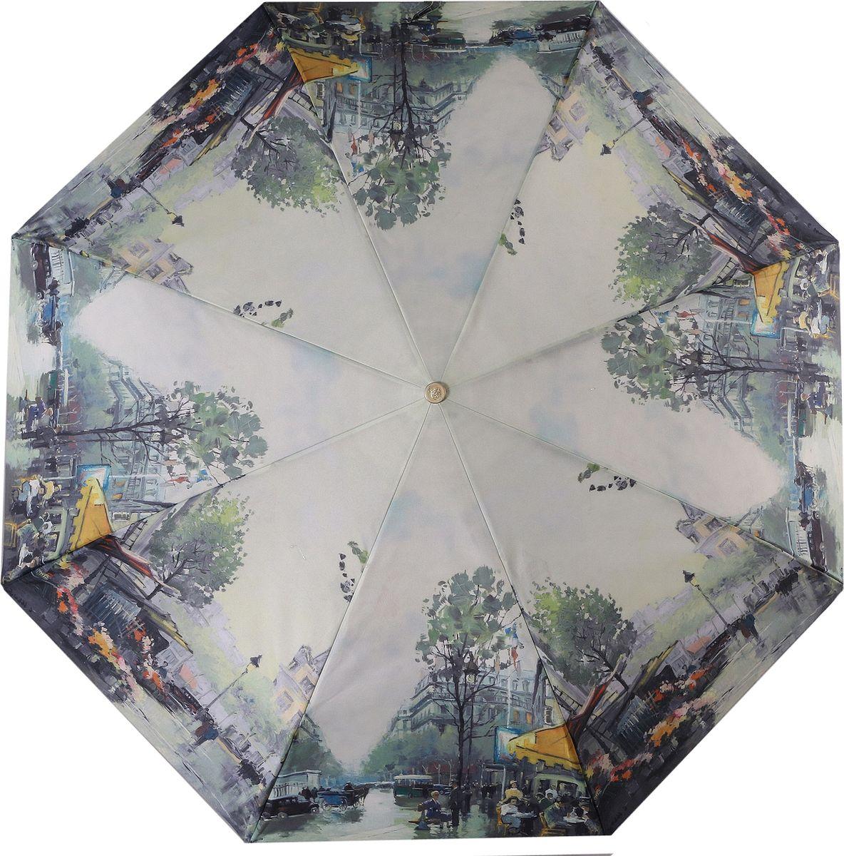 Зонт женский Trust, автомат, 3 сложения, цвет: бежевый, зеленый, желтый. 30475-77 зонт trust 32473 1603 женский полный автомат