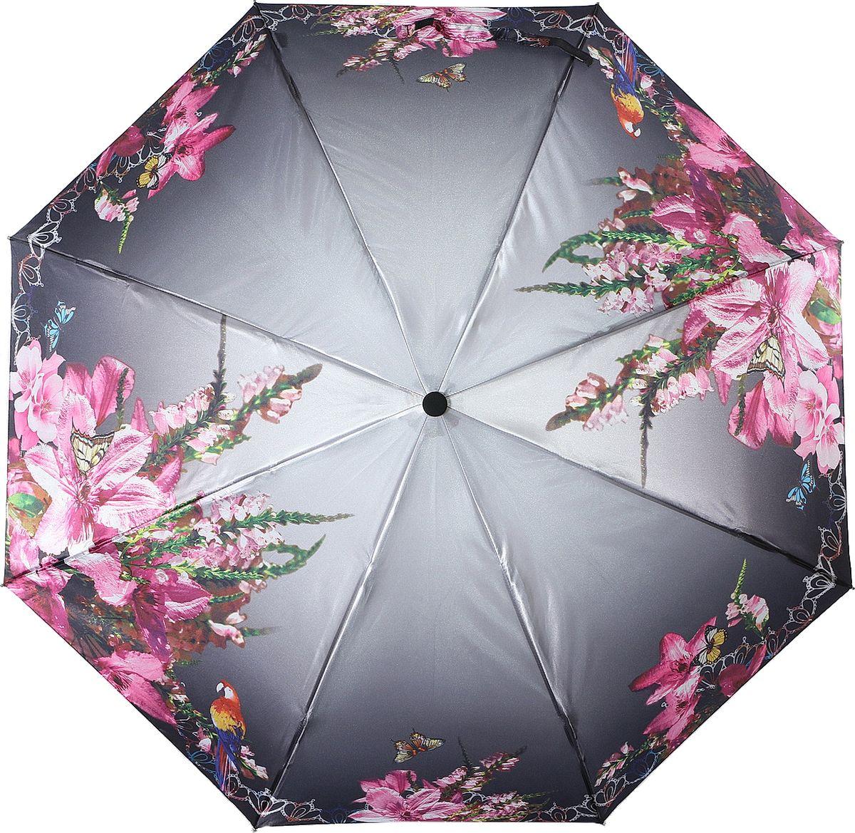 Зонт женский Magic Rain, автомат, 3 сложения, цвет: серый, розовый, зеленый. 7337-1622 цена и фото