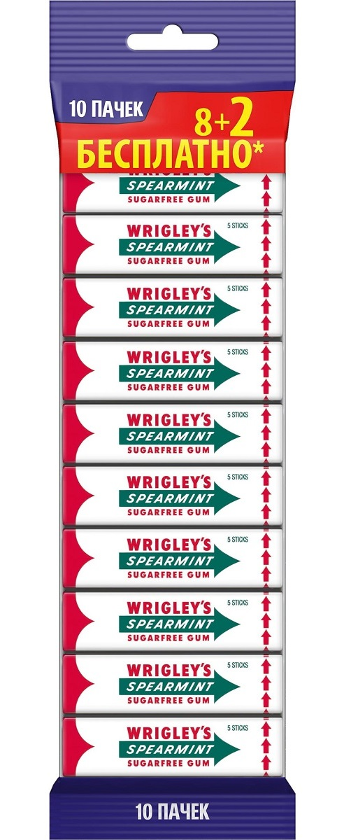 Wrigley's Spearmint жевательная резинка без сахара, 10 пачек по 13 г lotte cool mint жевательная резинка 26 г