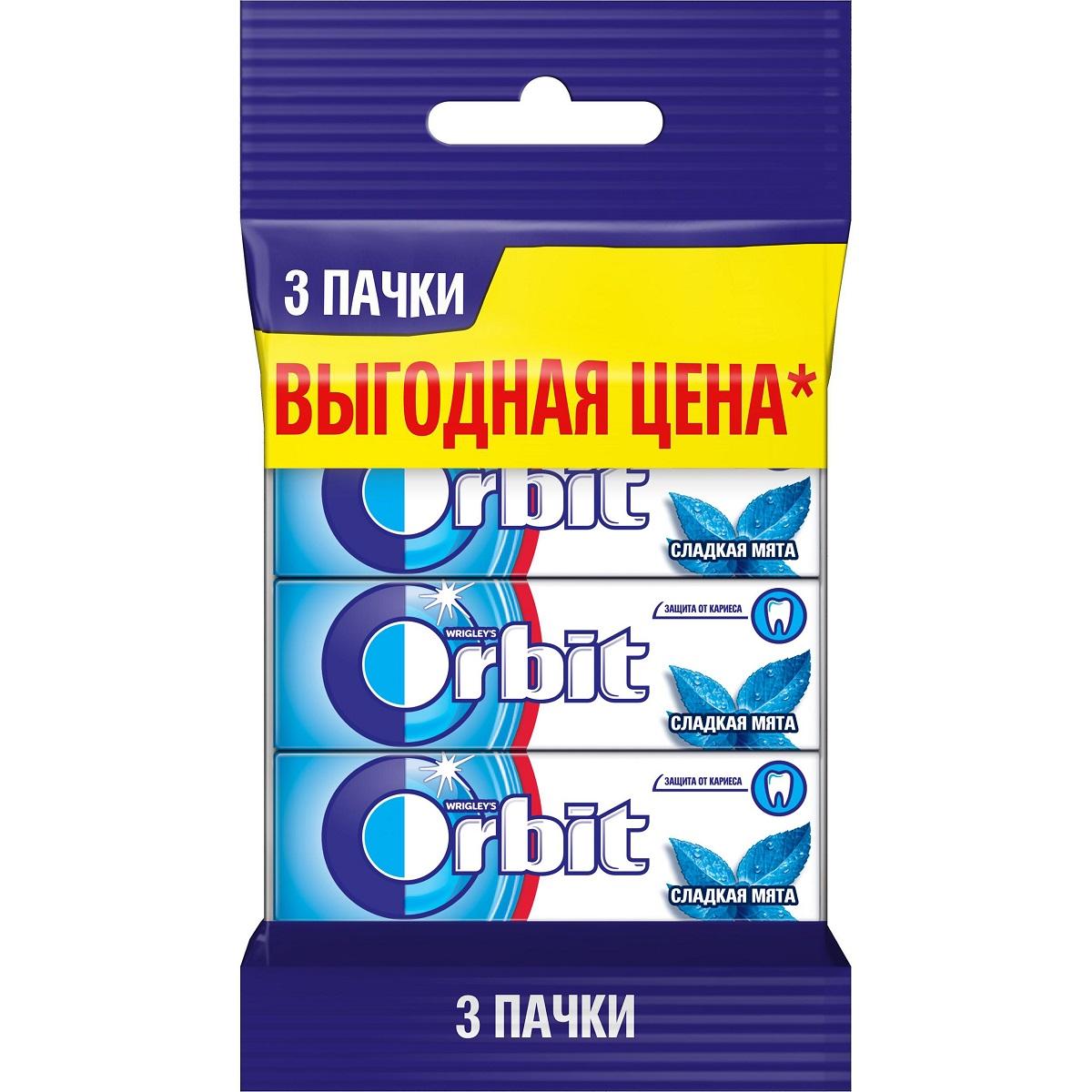 Orbit Сладкая мята жевательная резинка без сахара, 3 пачки по 13,6 г цена