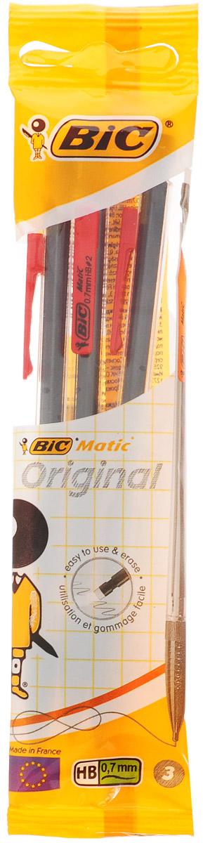 Bic Набор чернографитных механических карандашей Matic цвет красный 3 шт карандаши bic kids