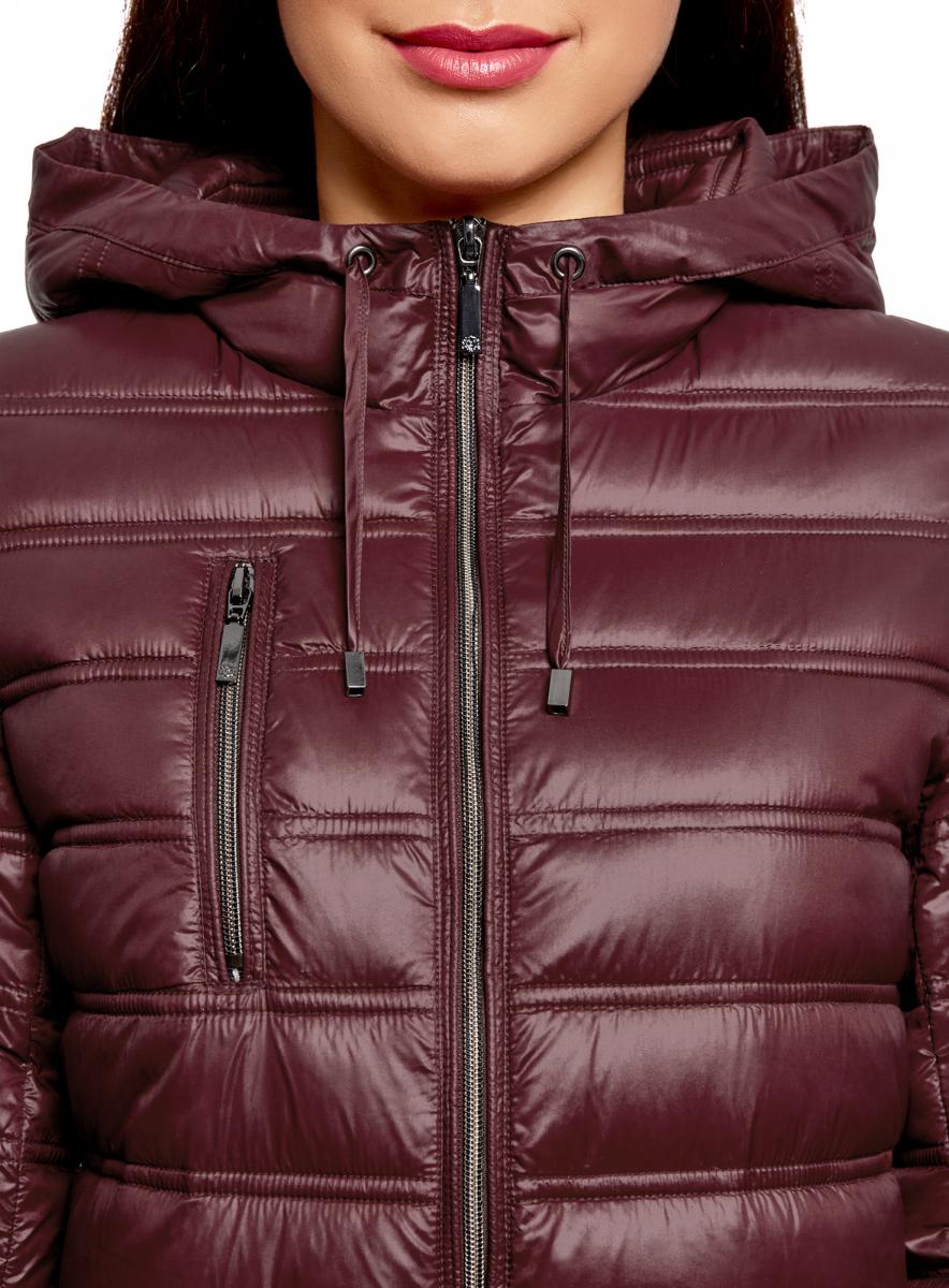 Куртка женская oodji Ultra, цвет: бордовый. 10203056B/33445/4900N. Размер 34-170 (40-170)