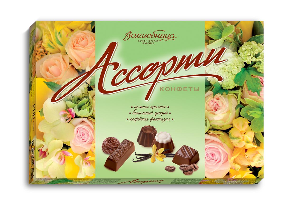 Волшебница конфеты ассорти с цветами (зеленые), 200 г волшебница с праздником конфеты шоколадное ассорти белое 200 г