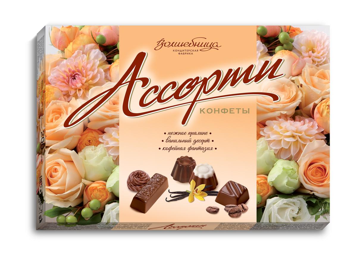 Волшебница конфеты ассорти с цветами (кремовые), 200 г волшебница с праздником конфеты шоколадное ассорти белое 200 г