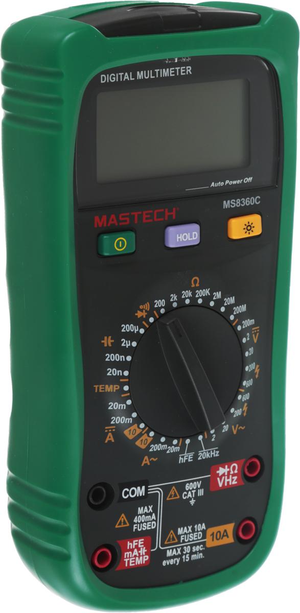 Мультиметр профессиональный Mastech MS8360C13-2027Mastech MS8360C - это электроизмерительный прибор, который включает в себя несколько функций и набор измеряемых параметров. Он измеряет постоянное и переменное напряжение, а также постоянный и переменный ток, сопротивление в цепи, емкость, частоту и даже температуру. С помощью данного прибора можно проводить тестирование диодов, прозвонку целостности цепи и измерение коэффициента усиления транзисторов. Также мультиметр оборудован специальным датчиком, с помощью которого вы бесконтактно сможете определить, есть ли напряжение на участке, например в розетке, если есть необходимость демонтировать ее. Таким образом, один прибор сможет заменить сразу несколько устройств одновременно. Мультиметр является портативным, компактные размеры позволяют всегда носить его с собой. Но, несмотря на малые размеры, данный прибор обладает широким функционалом и это выгодно отличает его от других. Имеет функцию удержания результата измерений Data hold для тех случаев, когда измерения проводятся в труднодоступных местах и не всегда есть возможность взглянуть на экран. Дисплей прибора оснащен подсветкой, которая позволяет проводить измерения даже в слабоосвещенных местах. Инженеры старались сделать прибор максимально удобным для использования. Выбор измеряемых величин и пределов измерений производится с помощью усиленного поворотного регулятора, благодаря которому исключается возможность случайного нажатия. Прибор изготовлен из высококачественных материалов, калибровка и тестирование приборов прои...