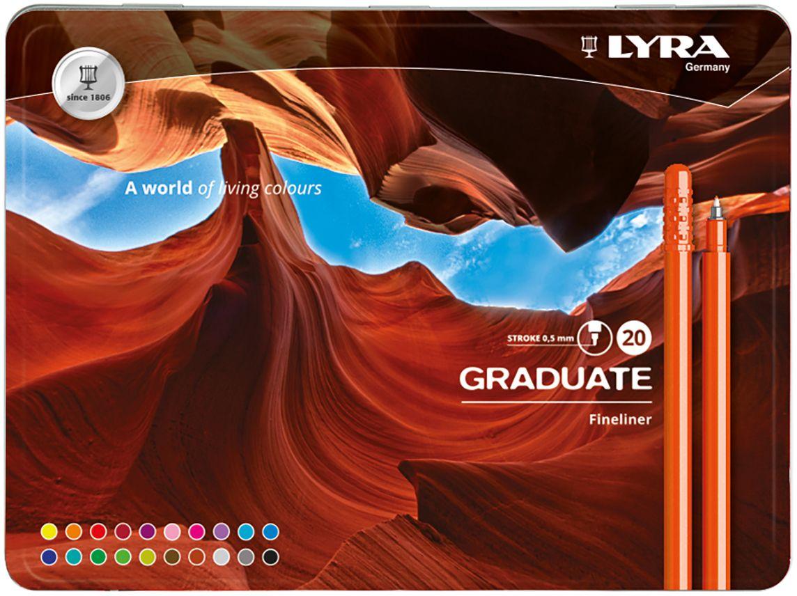 Lyra Набор капиллярных ручек Graduate Fineliner 20 цветов цены онлайн
