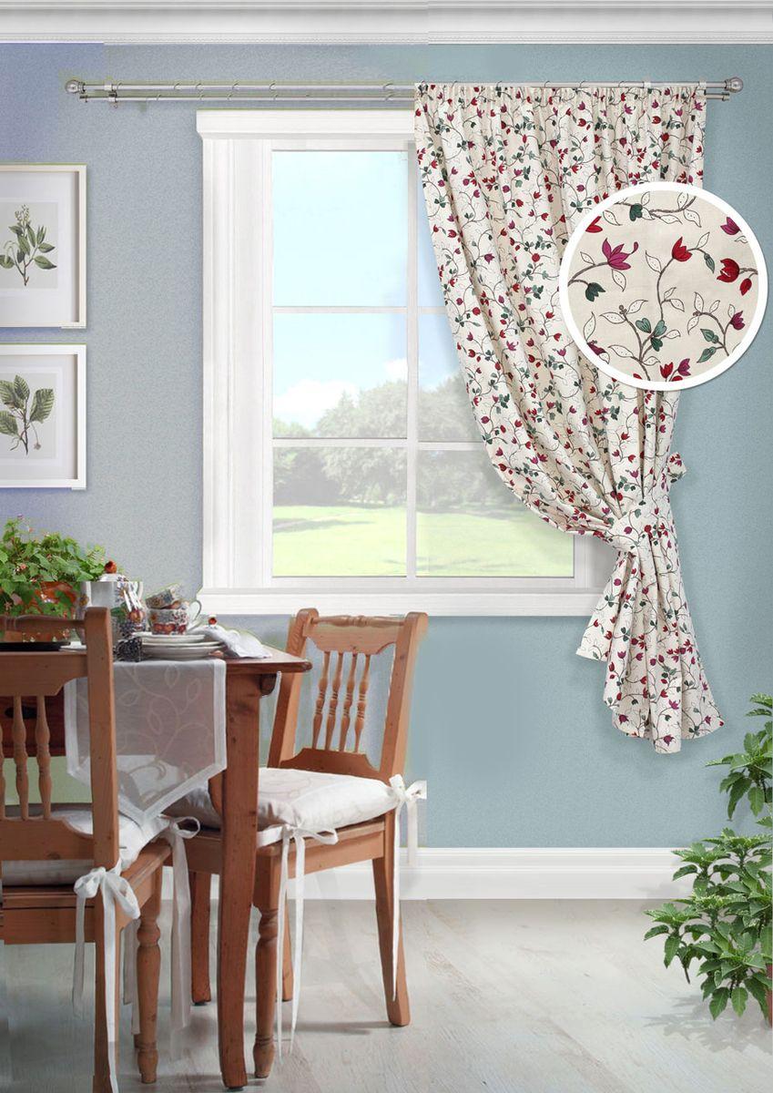"""Штора KauffOrt """"Лора"""", на ленте, с подхватом, цвет: мультиколор, высота 175 см. 3111302670"""