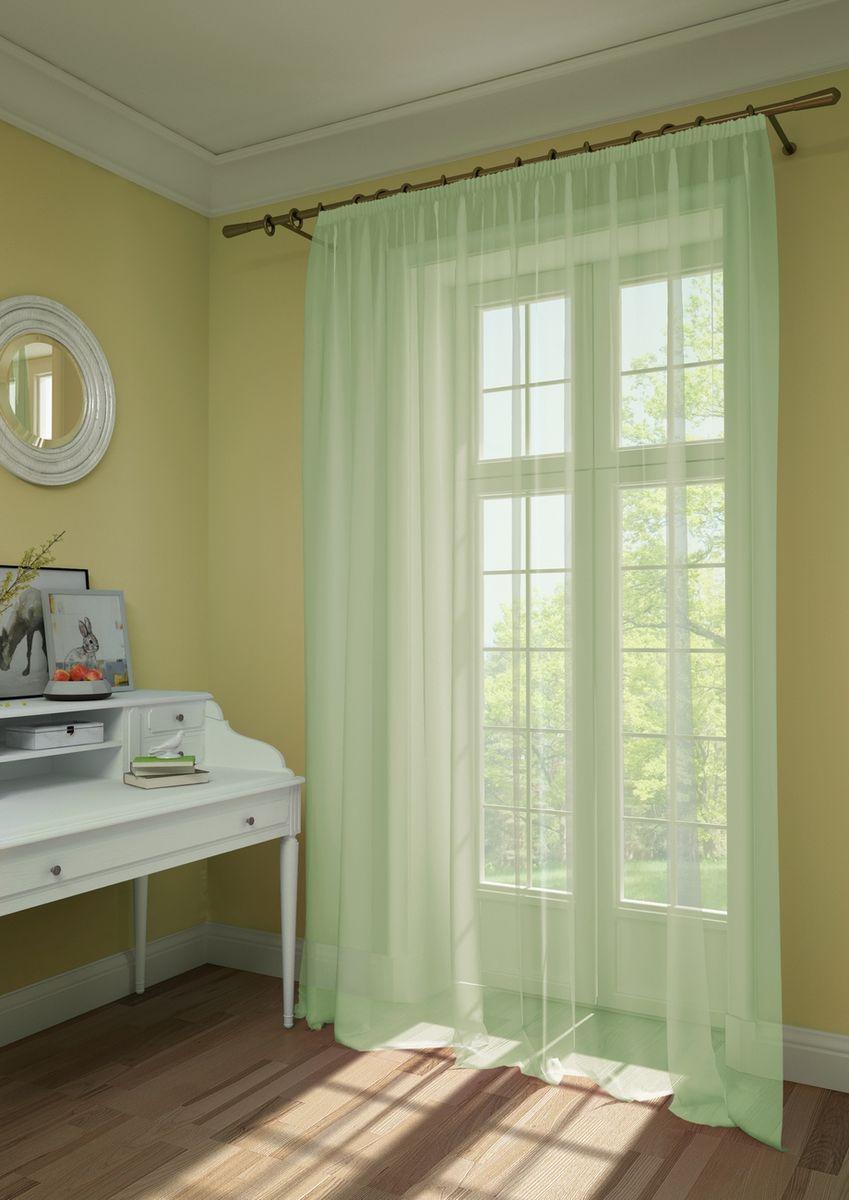 Штора KauffOrt Нелли, на ленте, цвет: светло-зеленый, высота 285 см3111303180Штора KauffOrt Нелли, выполненная из нежной вуали (100% полиэстер), станет великолепным украшением любого окна. Оригинальный дизайн и приятная цветовая гамма привлекут к себе внимание и органично впишутся в интерьер помещения. Штора оснащена шторной лентой для красивой сборки.