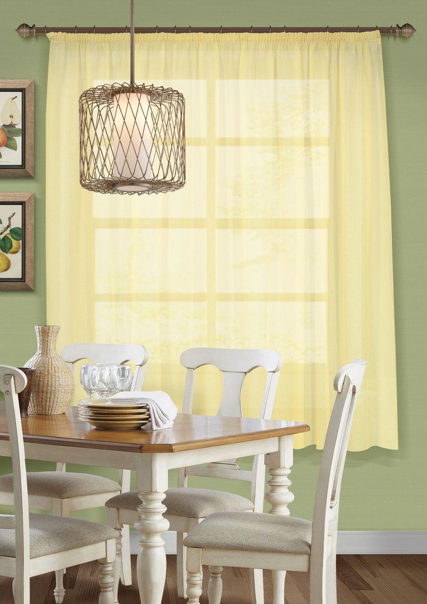 Тюль для кухни KauffOrt Талия, на ленте, цвет: желтый, ширина 285 см, высота 175 см штора для кухни kauffort кая на ленте цвет мультиколор ширина 136 см высота 175 см 3111534670