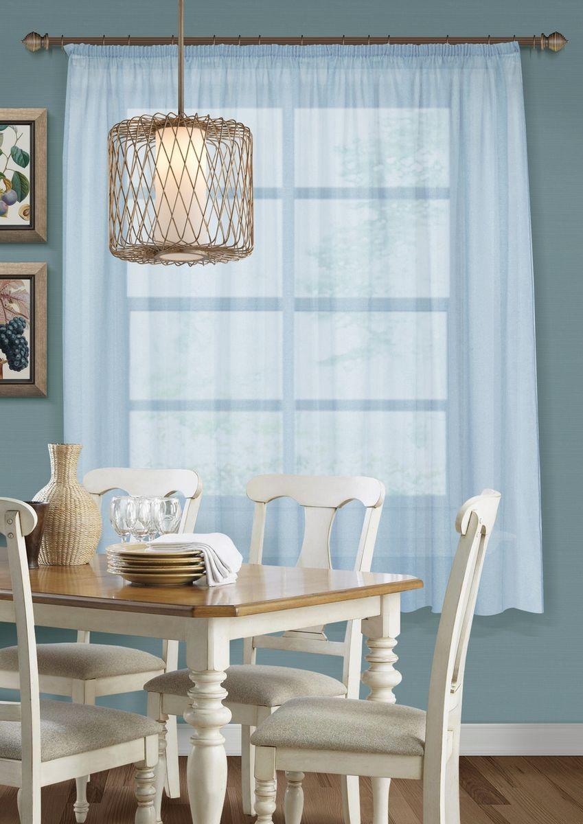 Тюль для кухни KauffOrt Талия, на ленте, цвет: голубой, ширина 285 см, высота 175 см штора для кухни kauffort кая на ленте цвет мультиколор ширина 136 см высота 175 см 3111534670