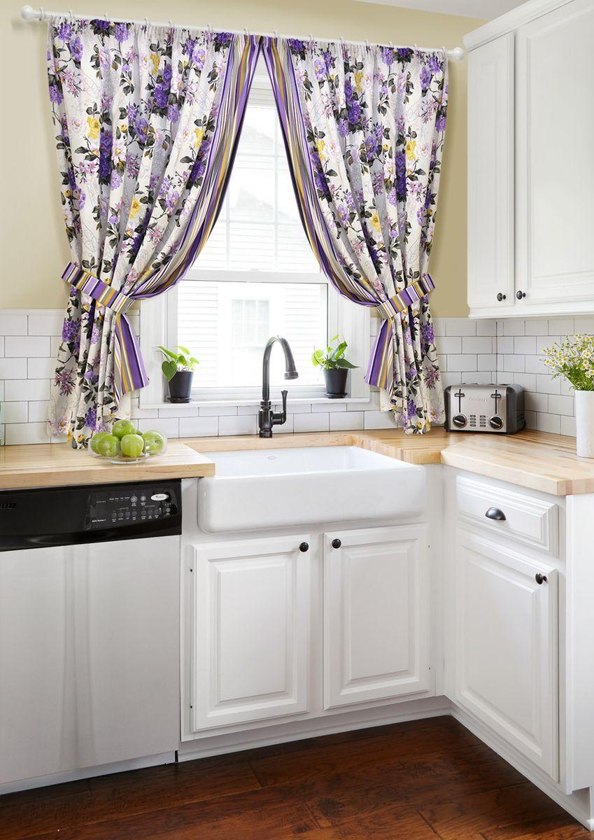 Комплект штор для кухни KauffOrt Мелодия, на ленте: 2 портьеры 170 x 175 см, 2 подхвата комплект штор для кухни kauffort мелодия на ленте 2 портьеры 170 x 175 см 2 подхвата