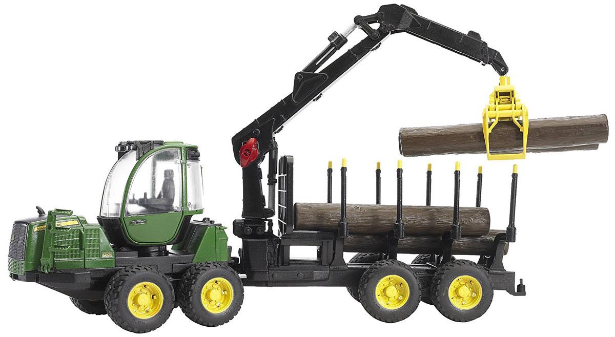 Bruder Трактор John Deere 1210E с прицепом с манипулятором и бревнами цена 2017
