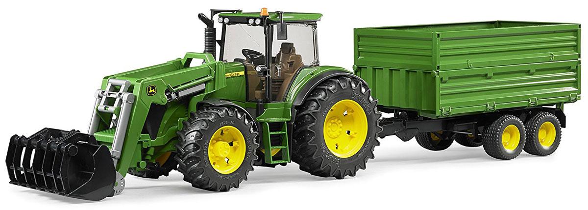 Bruder Трактор John Deere 7930 с погрузчиком и прицепом игрушка bruder john deere 1210e трактор с прицепом манипулятором и брёвнами 02 133