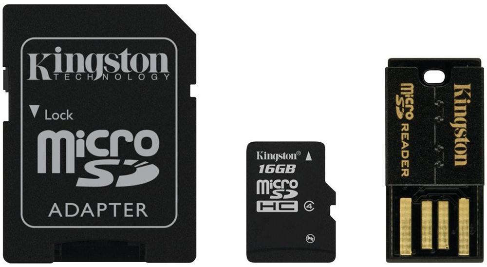 Kingston Mobility Kit MBLY4G2 карта памяти microSDHC 16GB + адаптер + USB-ридер
