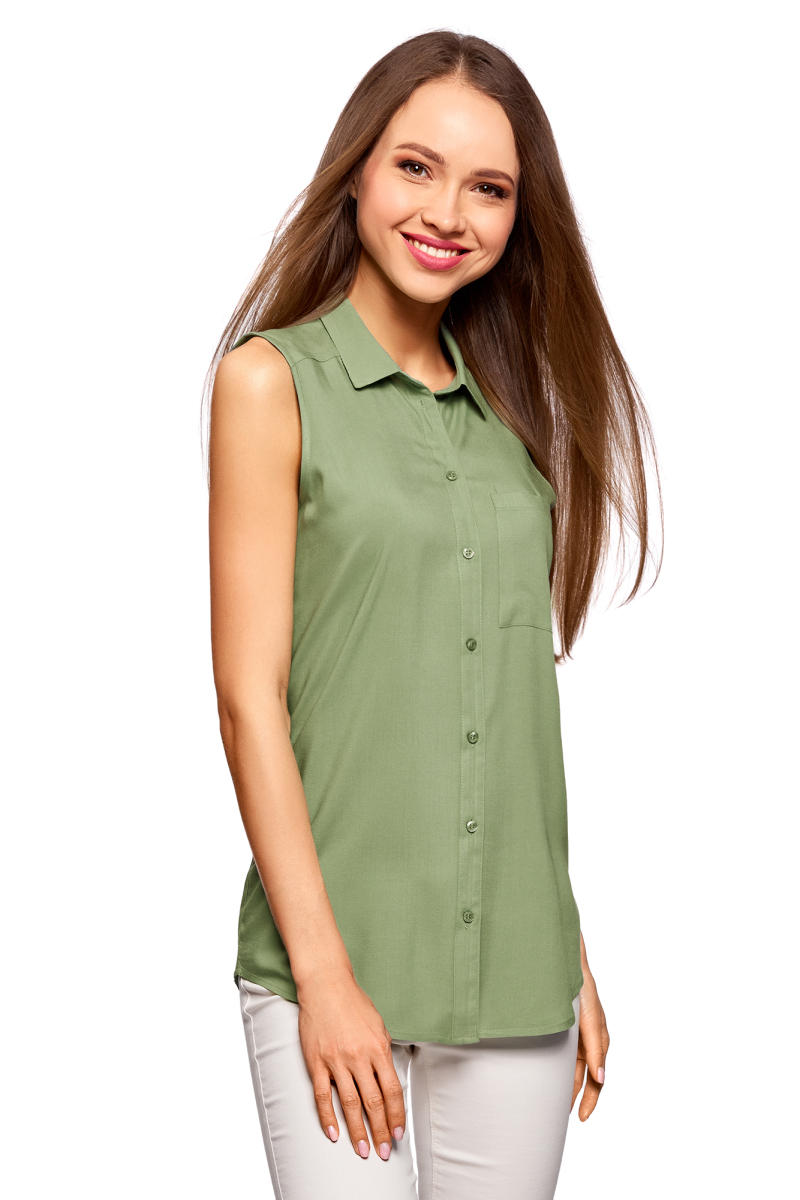 Фото - Блузка oodji блузка женская oodji collection цвет светло зеленый белый 21412132 2b 24681 6010g размер 44 170 50 170