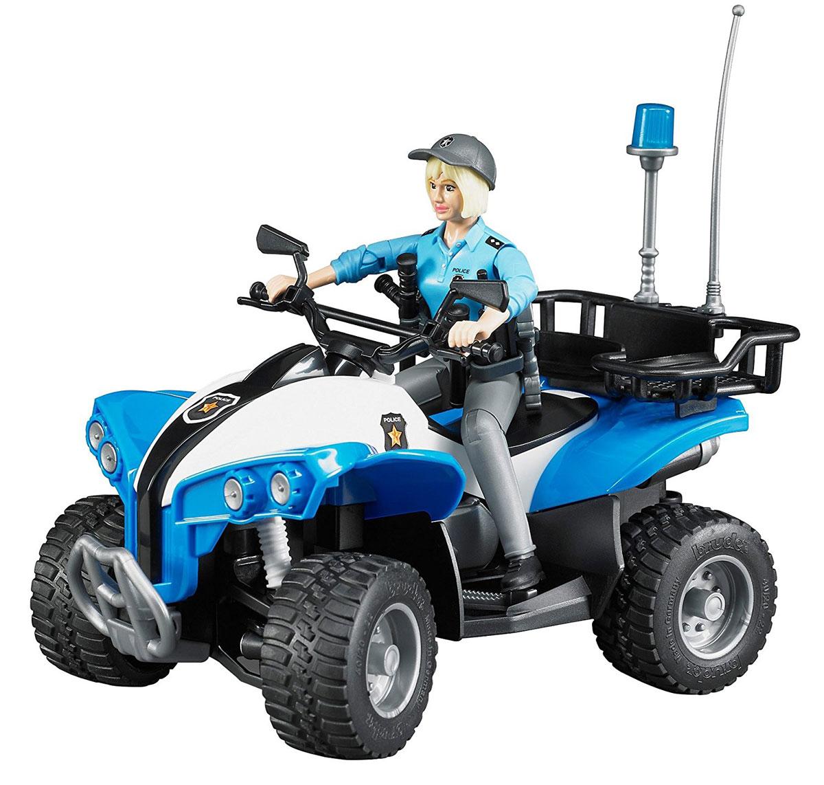 Bruder Полицейский квадроцикл с фигуркой набор знаков дорожных работ bruder с фигуркой рабочего 62 000