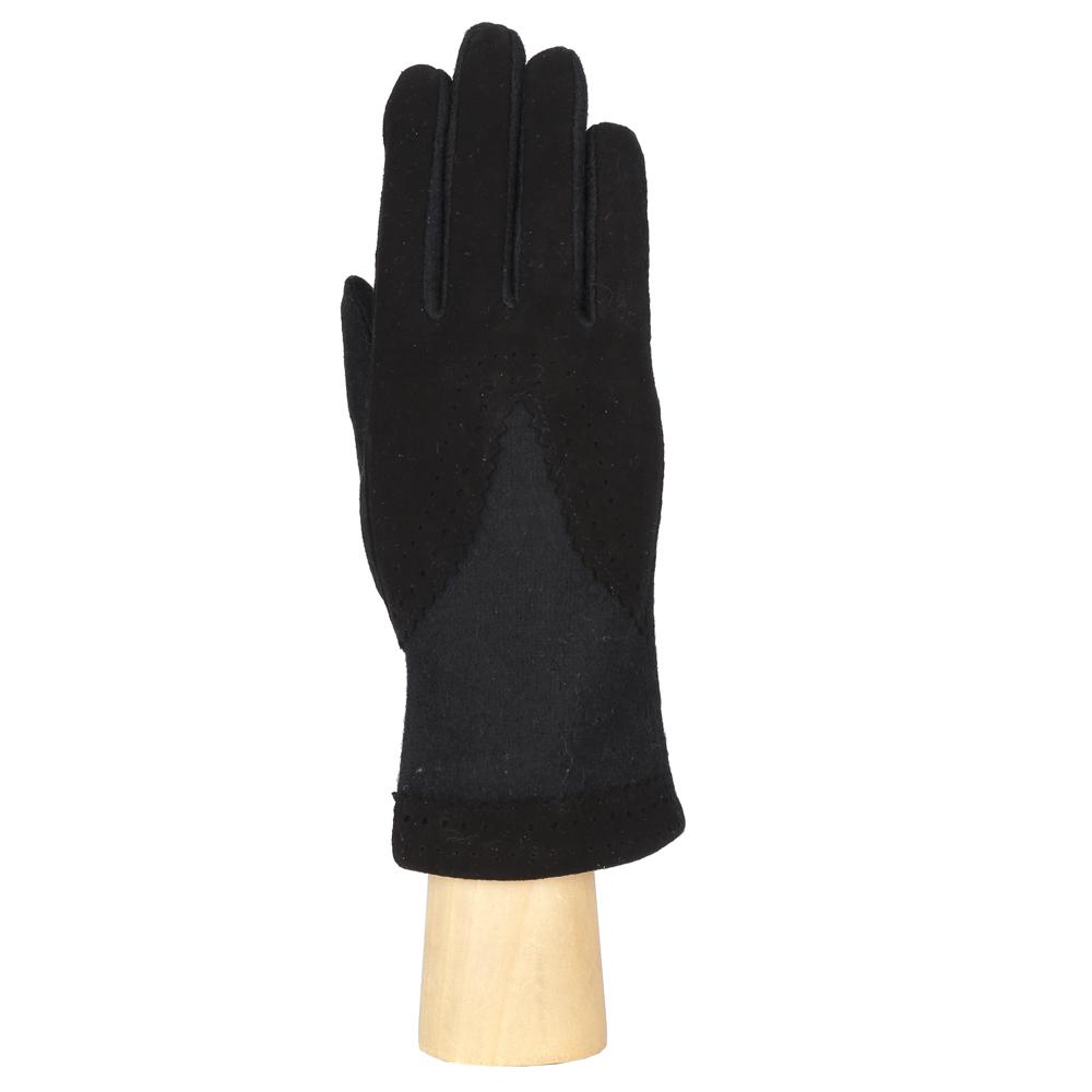 Перчатки женские Fabretti, цвет: черный. HB2017-14. Размер универсальныйHB2017-14-blackЭлегантные женские перчатки Fabretti станут великолепным дополнением вашего образа и защитят ваши руки от холода и ветра во время прогулок. Перчатки выполнены из шерсти с добавлением ангоры и эластана. Верхняя часть модели оформлена декоративной перфорацией на вставках из искусственной замши. Такие перчатки будут оригинальным завершающим штрихом в создании современного модного образа, они подчеркнут ваш изысканный вкус и станут незаменимым и практичным аксессуаром.