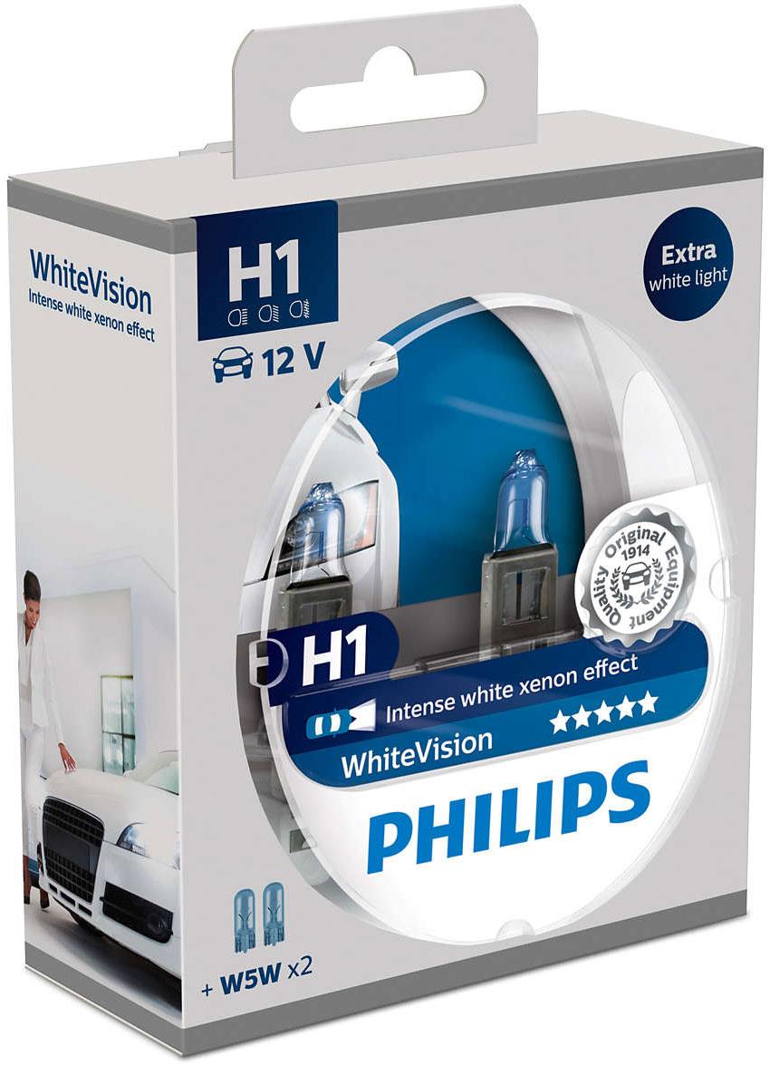 Лампа автомобильная галогенная Philips WhiteVision, для фар, цоколь H1 (P14.5s), 12V, 55W, 2 шт + цоколь W5W, 12V, 5W, 2 шт телевизор philips 32pht4132 60