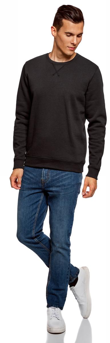 Свитшот мужской oodji Basic, цвет: черный. 5B113001M-1/44396N/2900N. Размер M (50)5B113001M-1/44396N/2900NМужской свитшот от oodji выполнен из хлопкового трикотажа. Модель с круглым вырезом горловины и длинными рукавами.