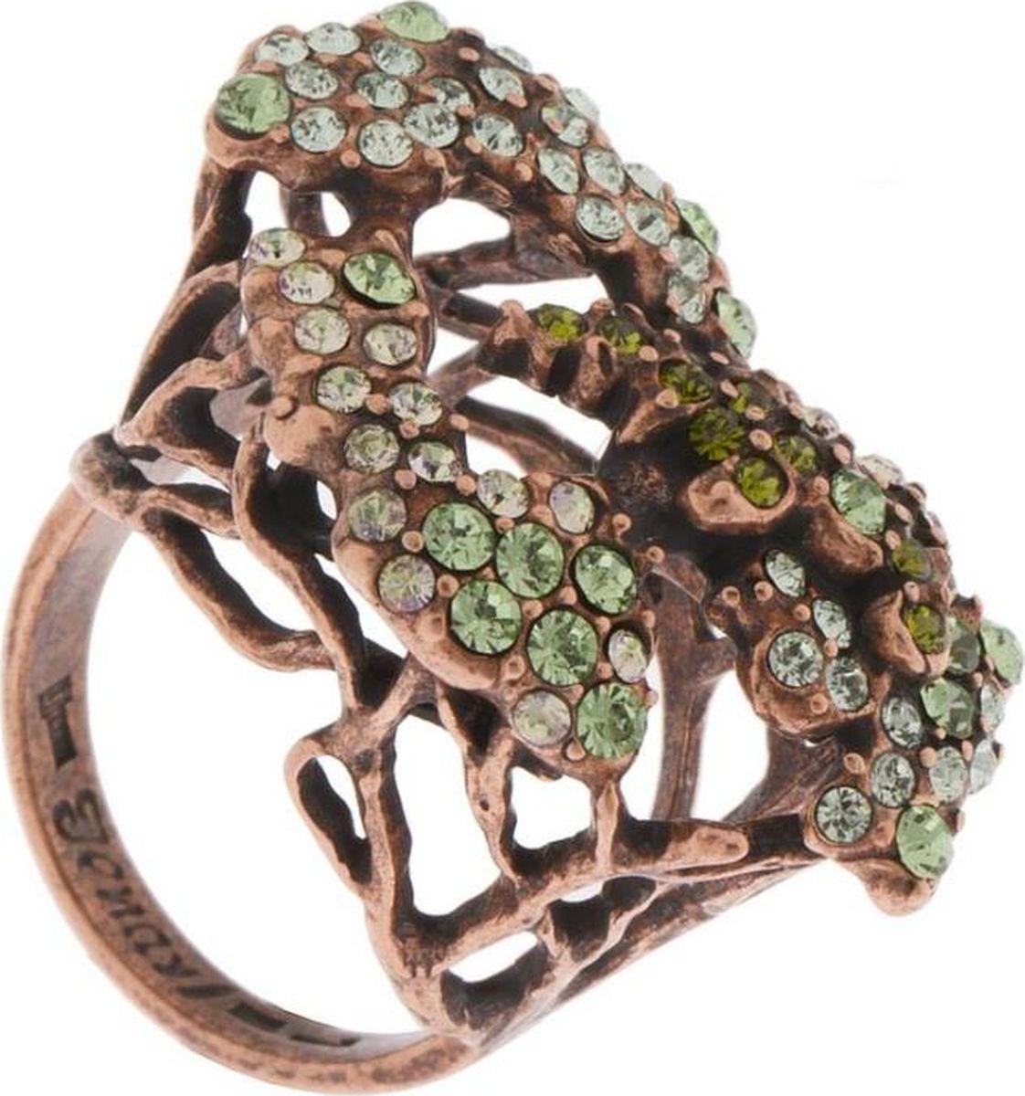 Кольцо Jenavi Волшебный лес. Крона, цвет: медный, зеленый. f801u030. Размер 17 александр григорьев волшебныйлес сказка