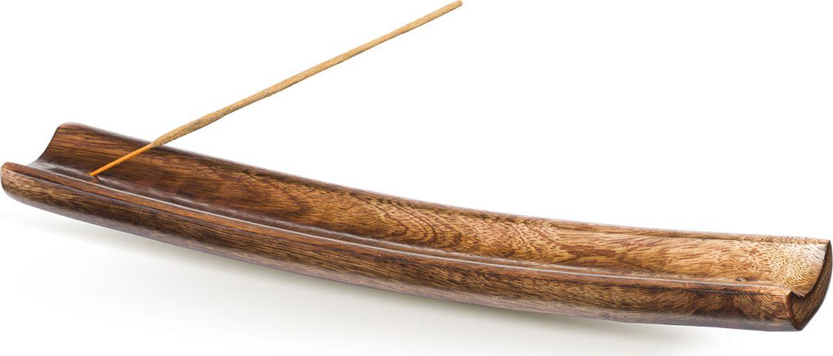 Подставка для ароматических палочек Sitara Лодка, цвет: коричневый русские благовония даммар плоская пачка 7 палочек подставка