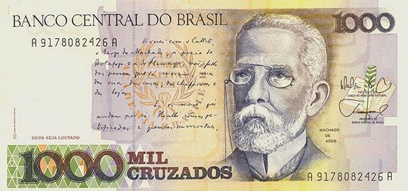 Банкнота номиналом 1000 крузадо. Бразилия, 1988 год банкнота номиналом 5 новых крузадо бразилия 1989 год