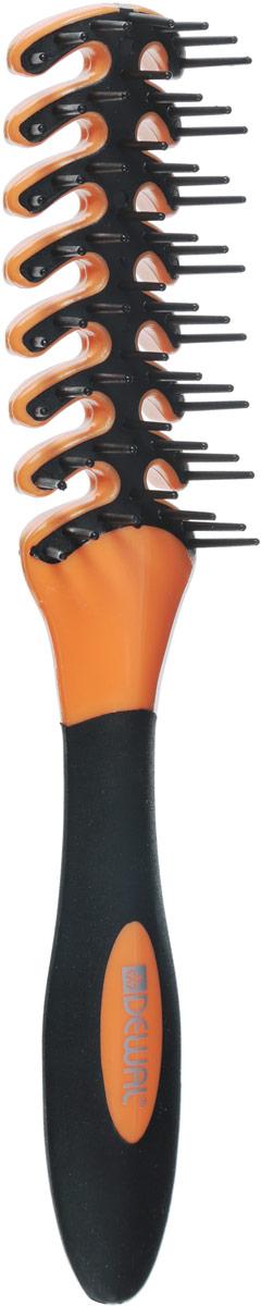 Dewal Расческа для укладки Рыбья кость, цвет: оранжевый, черный. BR69403 dewal расческа для укладки 3 х рядная с искуственной щетиной цвет фиолетовый br6935