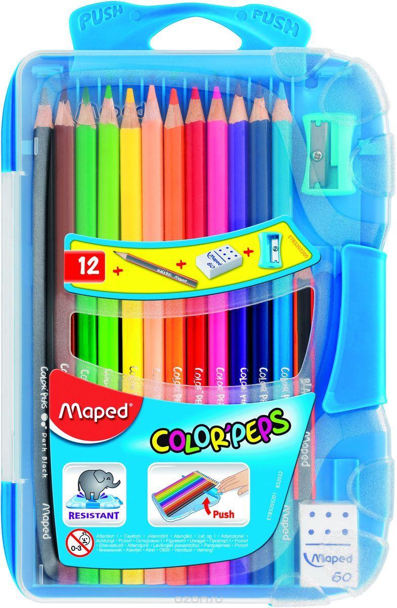 Maped Набор цветных карандашей Colorpeps 12 цветов с ластиком и точилкой цвет пенала в ассортименте