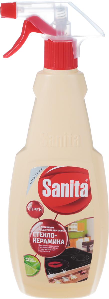 Средство чистящее Sanita Антижир, с ароматом зеленого чая и лайма, 500 мл средство meule для чистки стеклокерамических поверхностей и микроволновых печей 750 мл