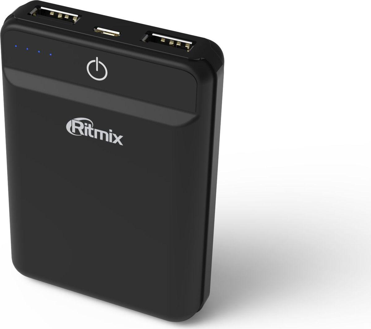 Ritmix RPB-10003L, Black внешний аккумулятор (10000 мАч) mediacon sp30000a universal 5v 30000mah li ion polymer solar power bank charger black