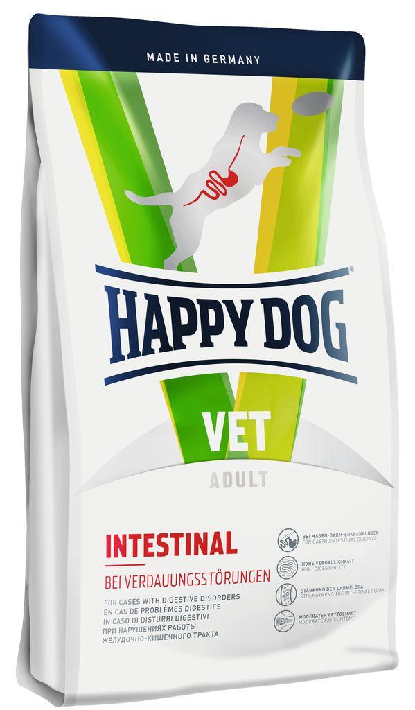 Корм сухой Happy Dog Intestinal для собак с чувствительным пищеварением, 12,5 кг12308766Сухой корм Happy Dog Intestinal применяются при острых и хронических нарушениях работы желудочно – кишечного тракта. Благодаря высокой усвояемости и пониженному количеству жиров снижается нагрузка на желудочно-кишечный тракт. Ценные диетические волокна способствуют росту оптимальной кишечной микрофлоры и стабилизируют консистенцию кала, связывая воду. Ромашка и кориандр, входящие в состав формулы Natural Life Concept, традиционно используются в качестве добавок и в классической терапии желудочно – кишечных заболеваний. Расстройства пищеварения у собак: кто виноват и что делать. Статья OZON Гид Чем кормить пожилых собак: советы ветеринара. Статья OZON Гид