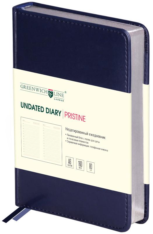 Greenwich Line Ежедневник Pristine недатированный 160 листов цвет синий формат A6 полка pristine y18