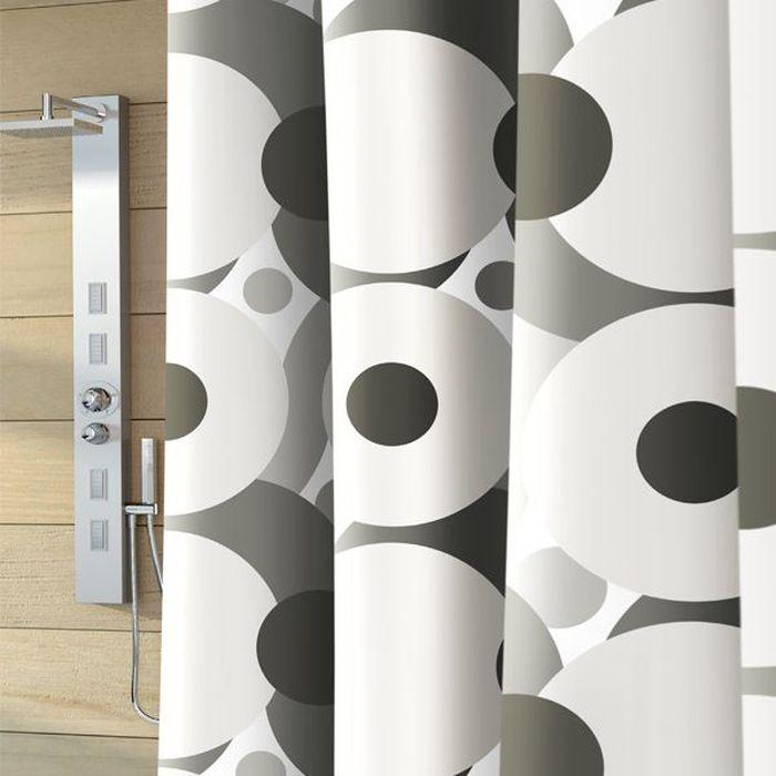 "Штора для ванной Bacchetta ""Galaxy"", цвет: серый, белый, 180 х 200 см"