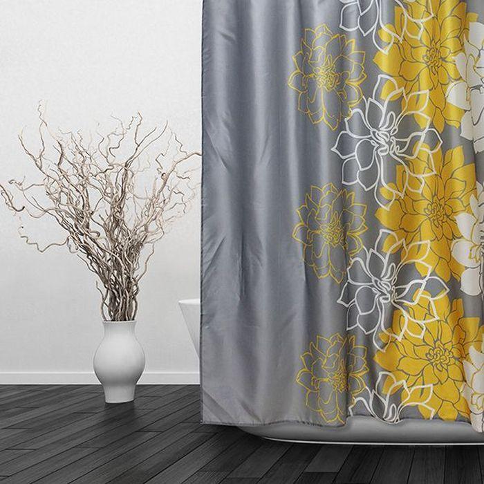 Штора для ванной Dasch Георгины, цвет: серый, желтый, 180 х 180 см5700Текстильная штора для ванной в стильном дизайне, который будет гармонично смотреться в любой ванной комнате. Выполнена штора из качественного полиэстера с водоотталкивающей и антибактериальной пропиткой, которая препятствует появлению на шторе плесени и других вредных грибков. Штора оснащена утяжелителем, который вшит по нижнему краю, и не позволяет шторе подниматься от потоков воздуха, создаваемых напором воды. Технология производства изделий отвечает европейским стандартам. Полотна отличаются высокими показателями износостойкости, цветостойкости и цветопередачи. Штора со временем не выцветает, а рисунок не вымывается. Допускается деликатная стирка при температуре 40 С.