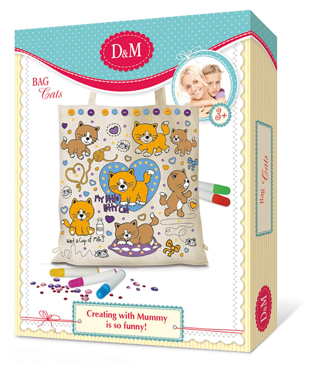 D&M Набор для росписи Сумка Коты делай с мамой лисы для создания объемной картины