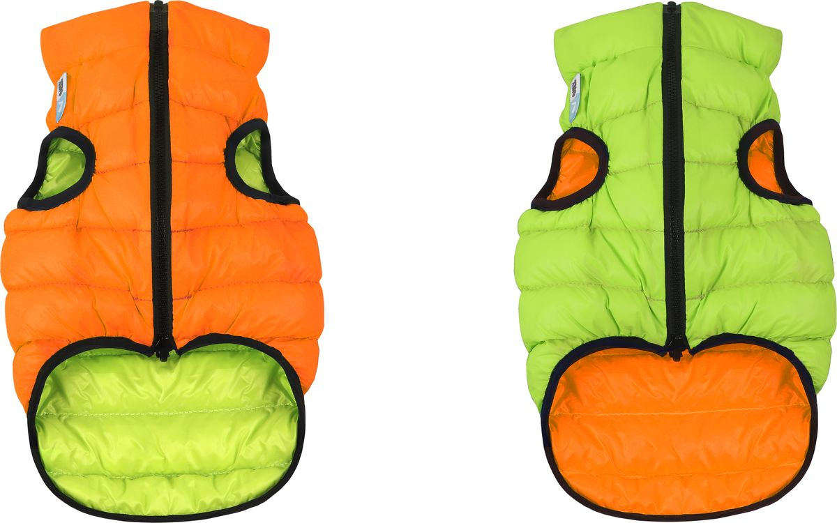 """Куртка для собак """"AiryVest"""", двухсторонняя, унисекс, цвет: оранжевый, салатовый. Размер ХS (30)"""