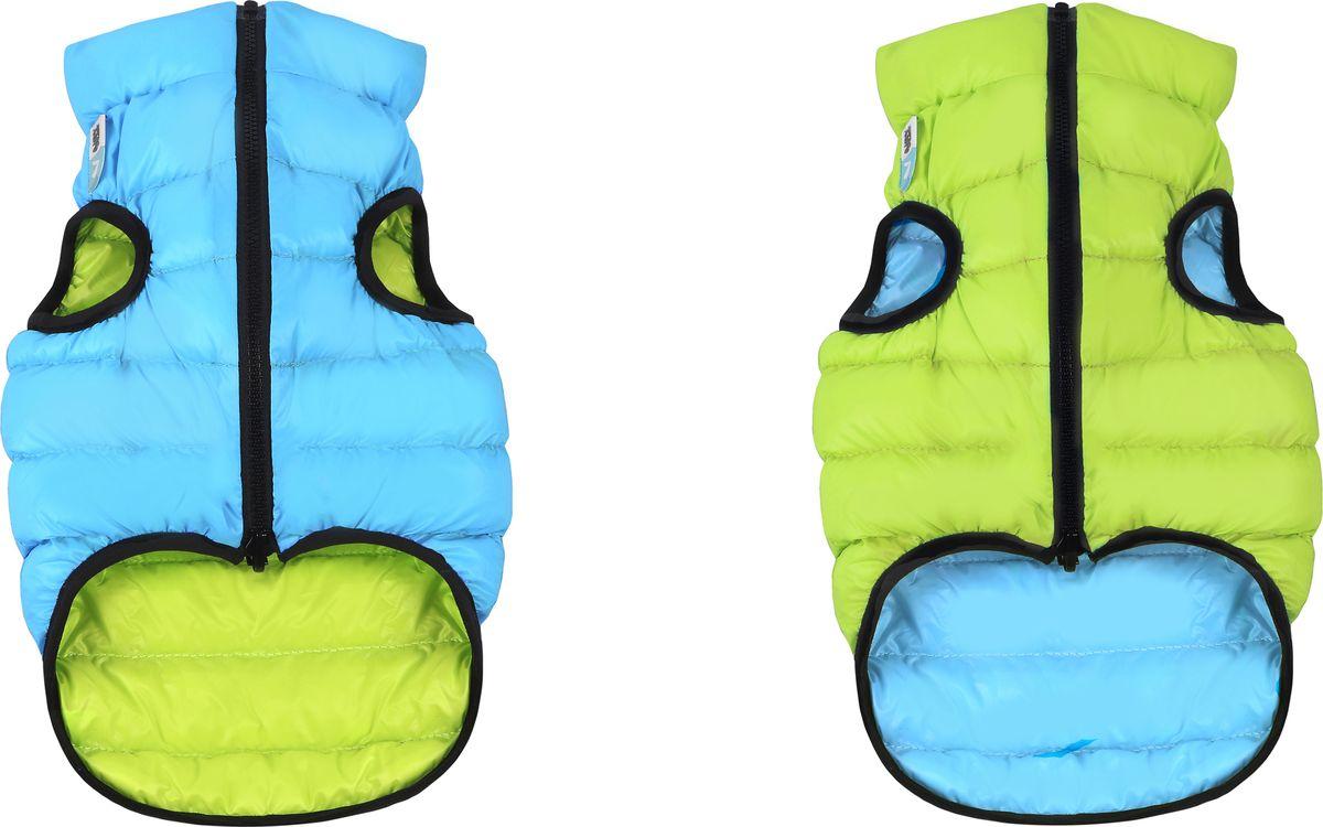 """Куртка для собак """"AiryVest"""", двухсторонняя, унисекс, цвет: салатовый, голубой. Размер S (30)"""