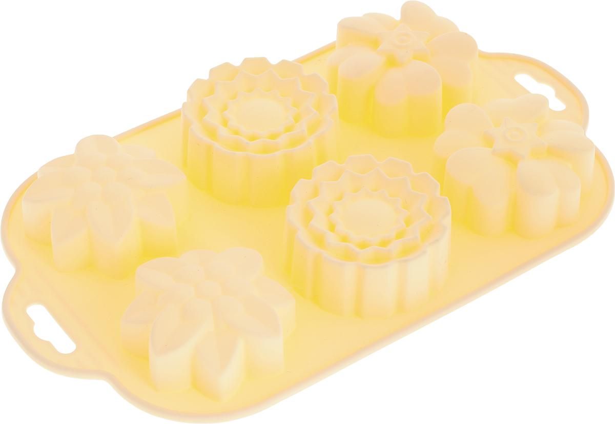 Форма для выпечки Marmiton Цветочки, силиконовая, цвет в ассортименте, 6 ячеек