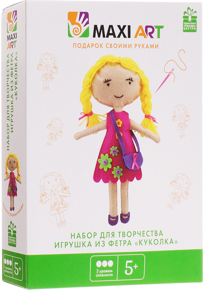 Maxi Art Набор для творчества Игрушка из фетра Куколка maxi art набор для творчества maxi art игрушка из фетра свинка 17 см