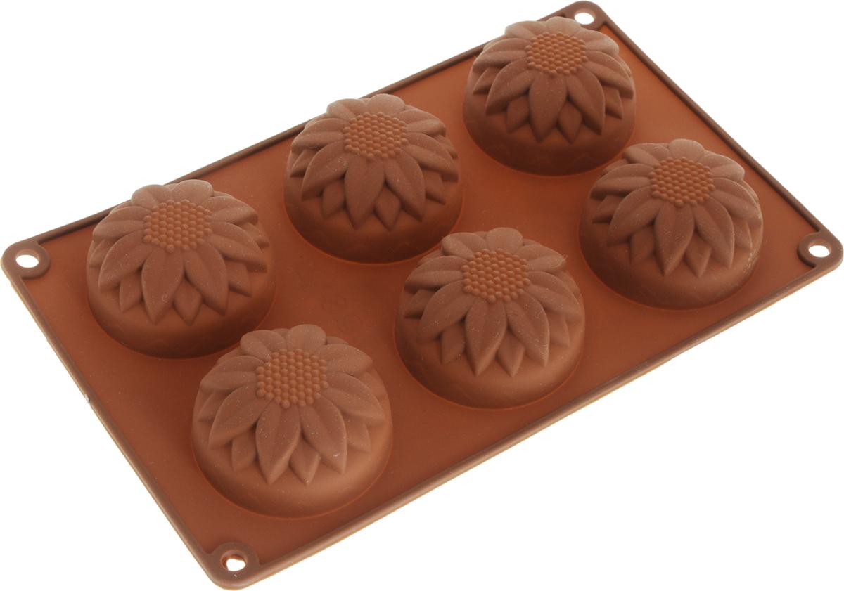 Форма для запекания Marmiton Кекс фигурный, силиконовая, цвет в ассортименте, 26,5 х 17 см, 6 ячеек форма для выпечки bekker бабочки силиконовая цвет синий 6 ячеек