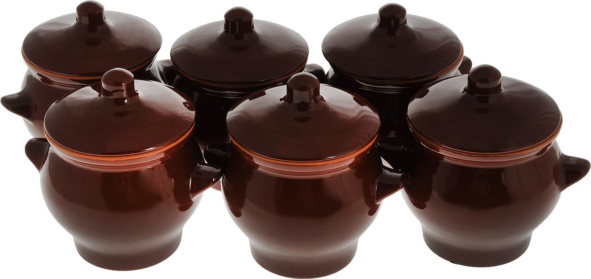 Набор горшочков для запекания Борисовская керамика Стандарт, с крышками, цвет: темно-коричневый, 600 мл, 6 шт набор горшочков для запекания борисовская керамика стандарт с крышками цвет светло коричневый темно коричневый 600 мл 4 шт