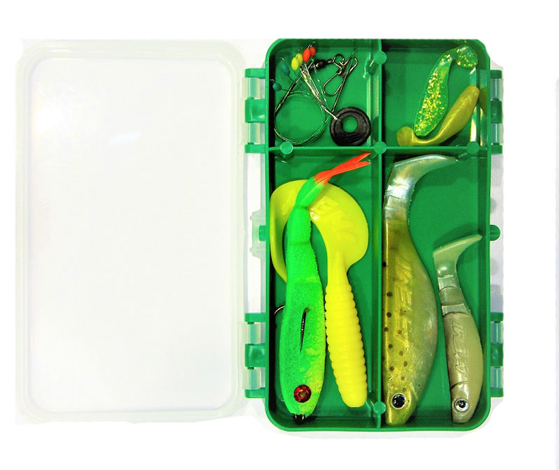 Набор спиннингиста AGP, цвет: зеленый, 30 оснасток поплавочный набор agp гладиатор цвет серый