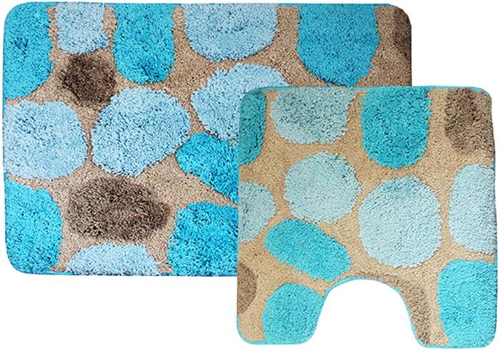 """Комплект ковриков для ванной Dasch """"Лора"""", цвет: синий, 2 предмета"""