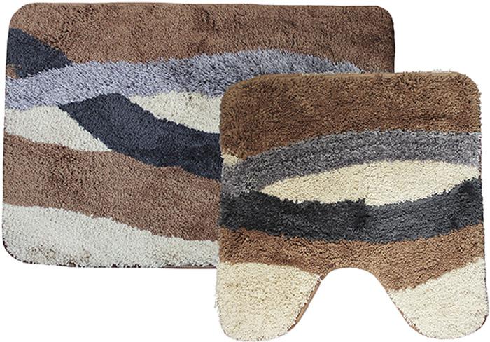 """Комплект ковриков для ванной Dasch """"Альбина"""", цвет: коричневый, бежевый, 2 предмета"""