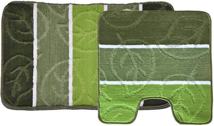 """Комплект ковриков для ванной Dasch """"Листопад"""", цвет: зеленый, 2 шт"""