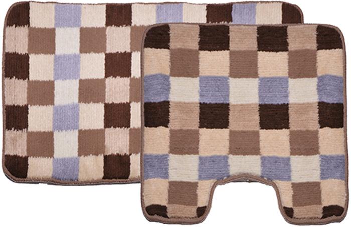Комплект ковриков для ванной Dasch Клетка, цвет: бежевый, коричневый, 2 шт аксессуары для ванной и туалета luxberry коврик для ванной art 1 цвет бежевый коричневый 70х120 см