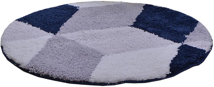 """Коврик для ванной комнаты Dasch """"Орнелла"""", цвет: серый, синий, диаметр 55 см"""