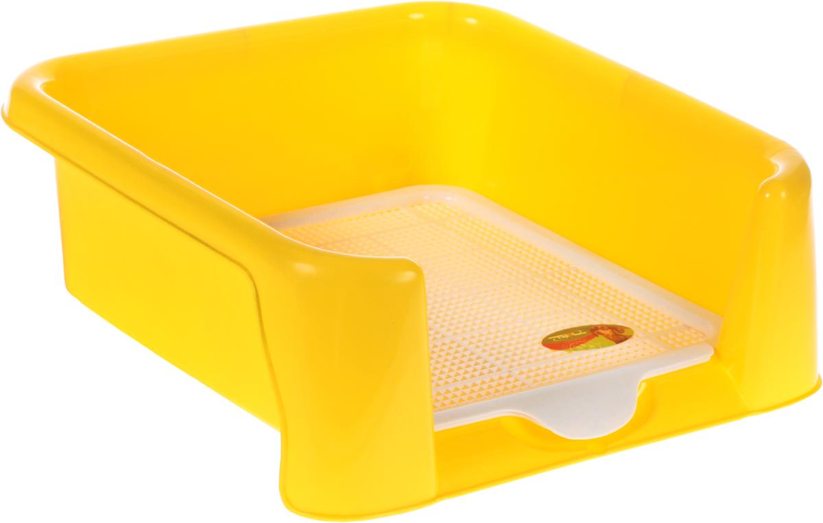 Туалет для собак Triol, с сеткой, цвет: желтый, 40 х 40 х 15,5 см туалет для собак triol 48 х 42 х 4 см
